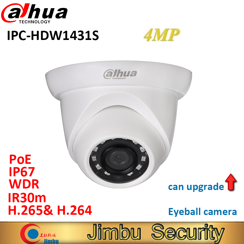 Dahua 4MP WDR IR Eyeball Network Camera IPC-HDW1431S H.265& H.264 IP67 IR30m POE mini cctv security IP Dome camera HDW1431S free shipping dahua cctv camera 4k 8mp wdr ir mini bullet network camera ip67 with poe without logo ipc hfw4831e se