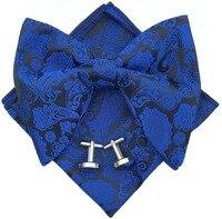 Handmade Mens Pre Tied Paisley Bowtie Oversized Tuxedo Bow Tie Hankie Cufflinks Set Gift Wedding Adjustable Bow tie