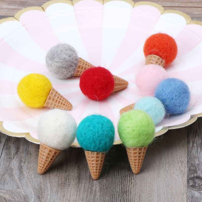 Handmade Mini Felt Ice Cream Props Tiny Baby Girls Boys Photo Shoot Newborn Photography Props Accessories