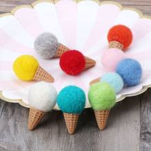 Handmade Mini Felt Ice Cream Props Tiny Baby Girls Boys Photo Shoot Newborn Photography Props Accessories(China)
