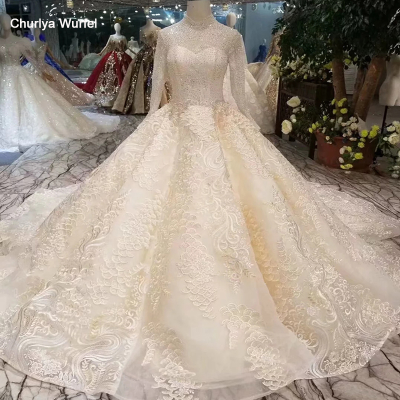 LSS398 Lace Wedding Dresses Muslim High Neck Long Sleeves Wedding Gowns With Long Train Lace Up Back свадебное платье Plus Size