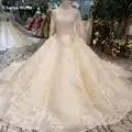 LSS398 vestidos de novia encaje musulmán larga cuello alto de vestidos de novia con mangas con largo tren de vuelta свадебное платье de talla grande