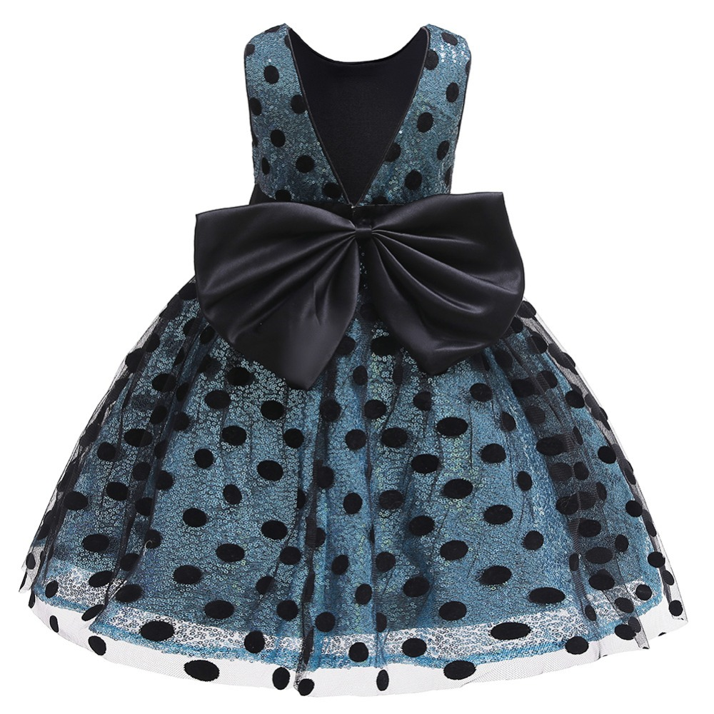 Girls Sequin Dress 2019 Fashion Kids Clothes Children Wedding Party Princess Dresses For Baby Girl Dot Bow Backless Tulle Dress (10)