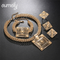 OUMEILY African Beads Jewelry Sets Women Jewelry Set Vintage Square Bridal Dubai Turkish For Weddings Costume