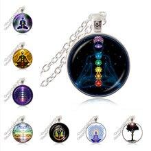 7 Chakra Reiki Healing Necklace Buddha Yoga Meditation Pendant Spiritual Om Symbol Hope Jewelry Chain Statement Necklace HZ1