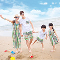 Matching family clothes bohemia long dresses for mother daughter father son outfits striped family clothing family look sets hot