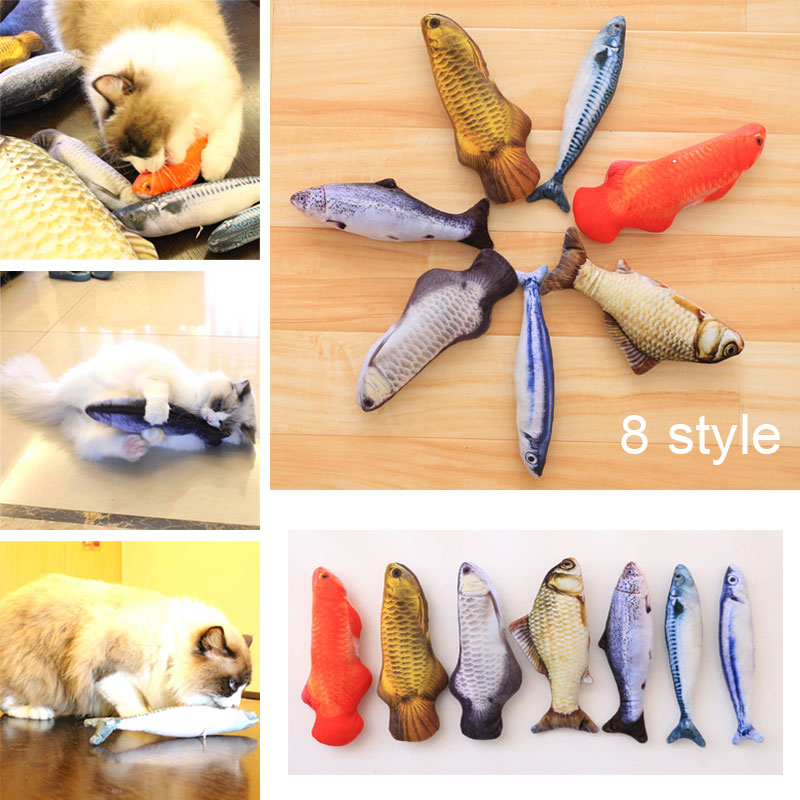 Artificial Fish Simulated Fluffy Cat Toy Pillow for Pets Cats Kitties Kitten Hogard