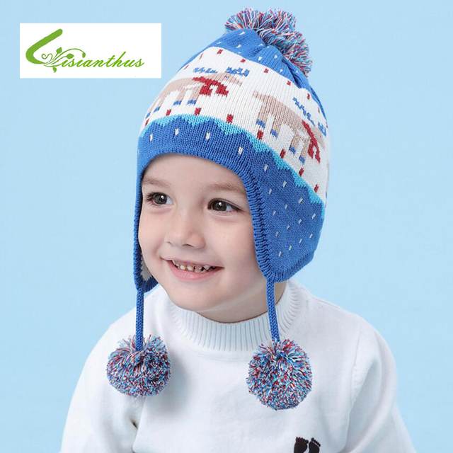 Children Hat Winter Christmas Elk Snowman Printed Hat for Boy Girls Scarf  Warm Kids Ear Flap Cap Crochet Thickened Caps Scarf 3bad3bb14de1