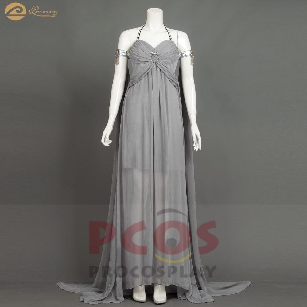 Brand New * In stock Game Of Thrones season 1 Mother of Dragons Daenerys Targaryen Khaleesi Cosplay Greece gray Costume mp004184