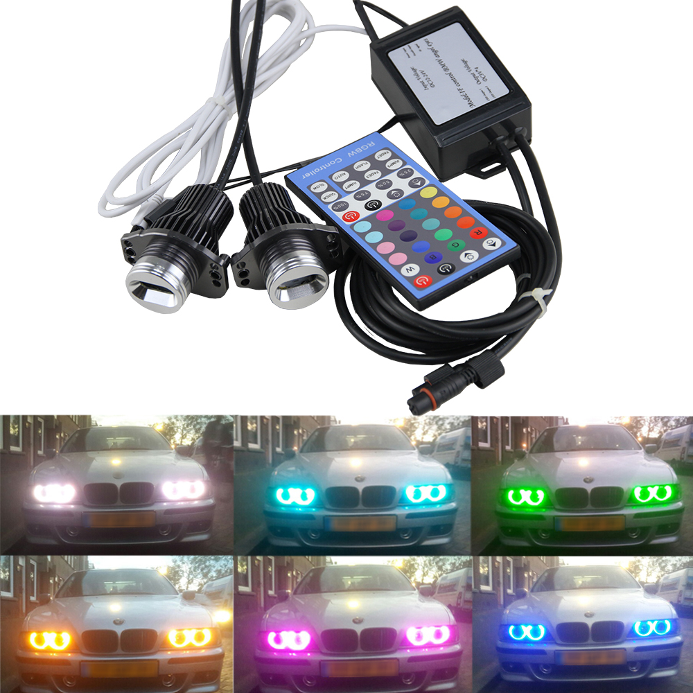 LED Marker Angel Eyes RGB Bulbs IR Control Led Headlamp Halo Ring for BMW E90 E91 3 Series best price sale one pair 2x10w led marker angel eyes fit for bmw e90 e91 auto headlight car headlamp