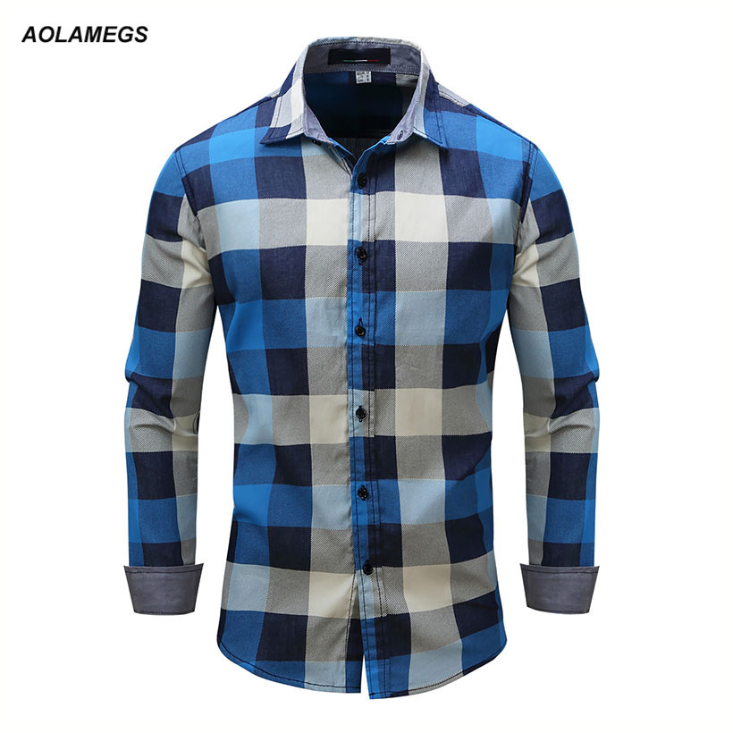 Aolamegs Men's Shirt Long Sleeve Plaid Shirts High Quality Male Casual Denim Style Blue Plaid Cotton Shirts Large Size M-XXXL