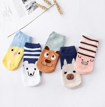 3pair/set Women Sock Slippers Small Animal Cartoon Short 100% Cotton Invisible socks Breathable Casual Ladies Funny S18 цены