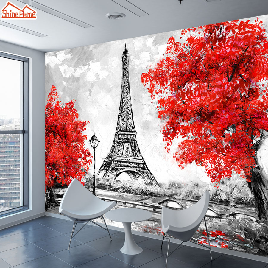 3d Photo Mural Wallpaper Wall Papers Home Decor For 3 D Living Room TV Wallpapers Papel De Parede Paris Eiffel Tower Maple Leaf