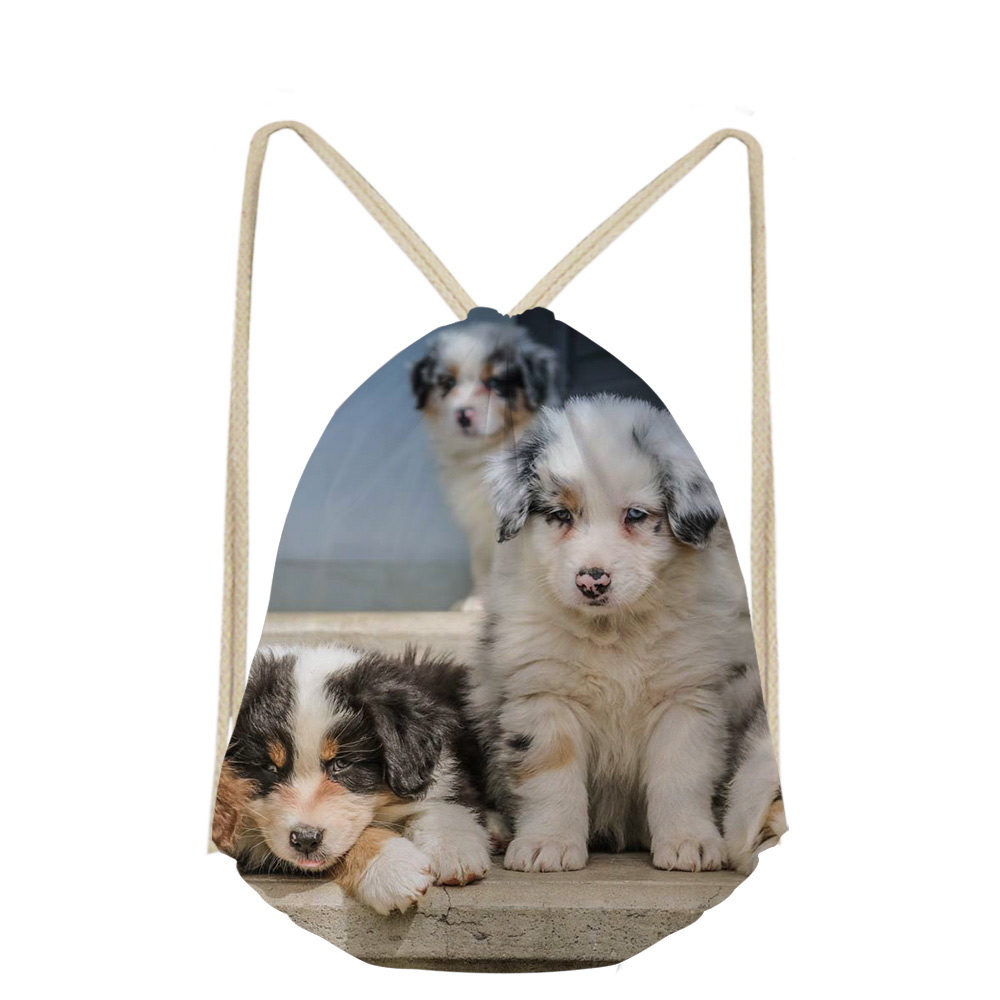Noisydesigns Fashion 3D Australian Cattle Dog Drawstring Bags Dog Lover Large Travel Laptop Backpack Casual Case Men Women