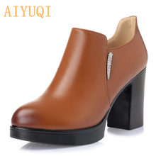 2016 new women's genuine leather shoes, deep mouth waterproof high-heeled dress shoes, Zhiye Zhuang woman shoes, free shipping цена и фото