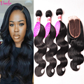 Peruvian Virgin Hair Body Wave With Lace Closure 3 Bundle With Closure Human Hair With Closure Peruvian Body Wave With Closure