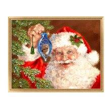 DIY 5D Embroidery Painting Cross Stitch Needlework Mosaic Santa Claus Home Decor 30*25cm-Y102