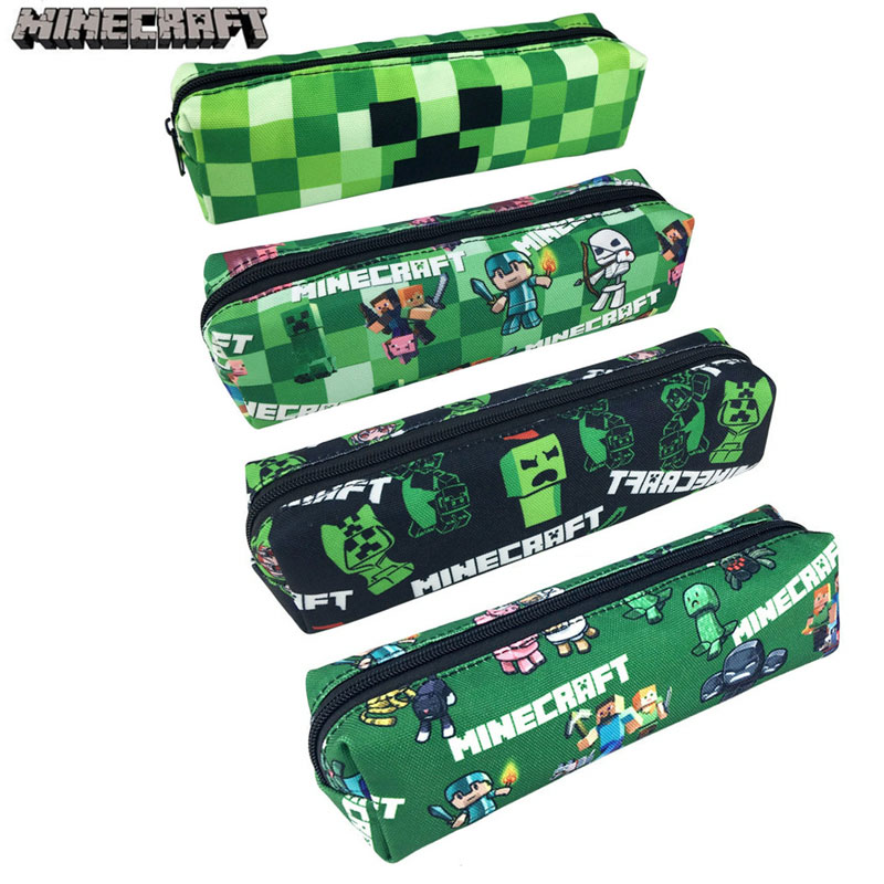 Minecraft Pencil Case for Boys Cute Stationery School Pencil Bag Big Capacity Canvas Pen Box School Supplies Green Pencil Case big capacity high quality canvas shark double layers pen pencil holder makeup case bag for school student with combination coded lock
