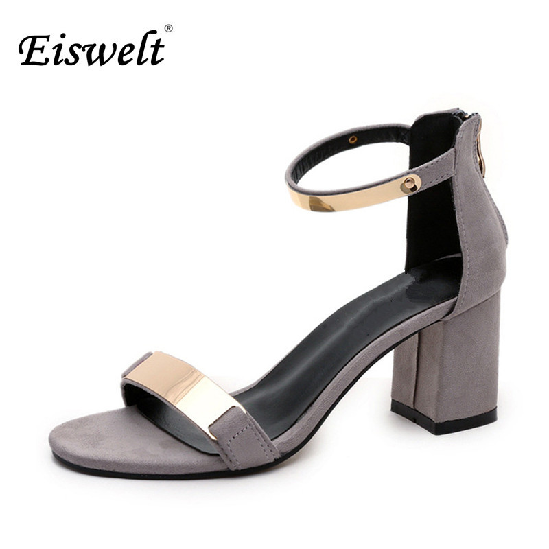 Eiswelt Ladies Shoes 2017 Summer Gladiator Sandals Women High Heels Sandals Party Wedding Shoes Glitter Ladies Sandals#GMJ5 eiswelt shoes spring summer fashion rivet flats party pointed flock women shoes wedding shoes glitter flat ladies shoes zjf84