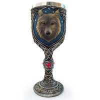 Personality 3D Wolf head Spine Goblet Stainless Steel Striking Wolf Coffee Goblet Drinkware Vessel Crazy Christmas Gift