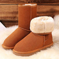 VIXLEO Women Classic Snow Boots Tall Leather Winter Shoes Boot With Black Chestnut Gray Women S