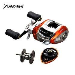 YUMOSHI 12 + 1BB Carretel De Arremesso mão Direita ou Esquerda 6.3: 1 Fundição isca Carretel De Pesca Bobina Roda freio Magnético Gota de Água