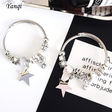 Fashion Five-pointed Star Charm Pan Bracelets For Women Crystal Stainless Steel Cable DIY Beads & Bangles Jewelry Gift