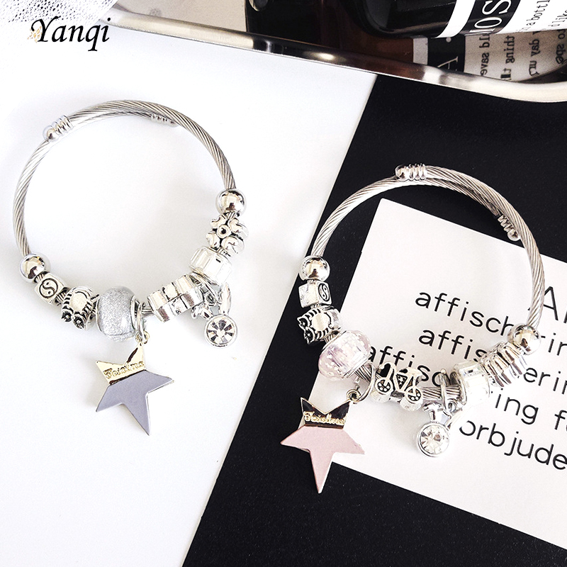 Fashion Five-pointed Star Charm <font><b>Pan</b></font> <font><b>Bracelets</b></font> For Women Crystal Stainless Steel Cable DIY Beads <font><b>Bracelets</b></font> & Bangles Jewelry Gift image