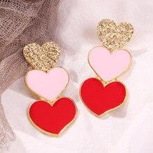 Earings Real Top Fashion 2019 Korean Sweety Lovely Style Drop Earrings Women Irregular Love Dangle Hook Geometric Gift