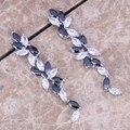 White CZ Black Created Sapphire 925 Sterling Silver  Drop Dangle Earrings For Women  S0197