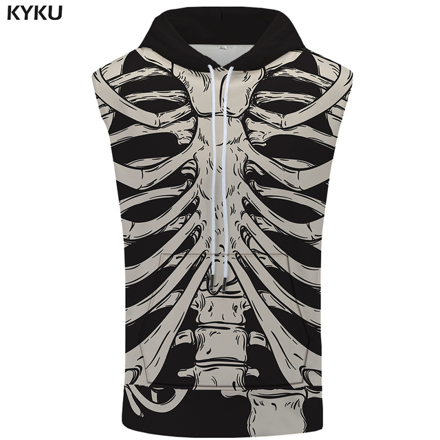b9f4a46799 KYKU Skull Sleeveless Hoodie Funny Bodybuilding Vest Slim Coat Anime  Singlets Summer Mens Clothing New Anime