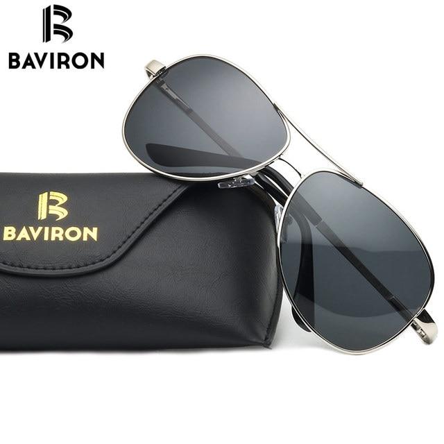 gafas de sol BAVIRON Wrap Aviator Sunglasses Retro Classic Designer Men brown 8ebJew65