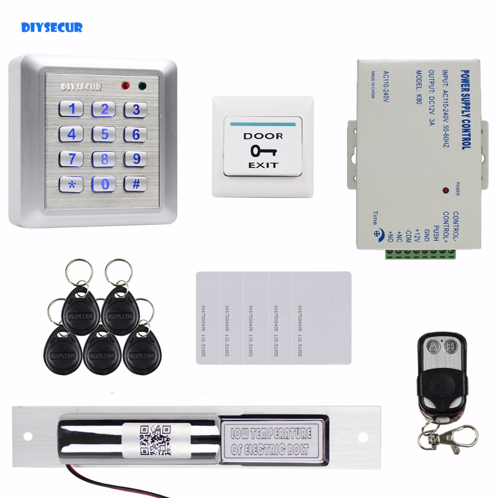 DIYSECUR Electric Bolt Lock Waterproof 125KHz RFID Reader Password Keypad Door Access Control Security System Remote Control diysecur electric lock waterproof 125khz rfid reader password keypad door access control security system door lock kit w4