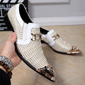 New Fashion White Wedding Shoes Glitters Mens Pointed Toe Bling Bling Casual Dress Shoes Luxury Brand Oxford Shoes for Men