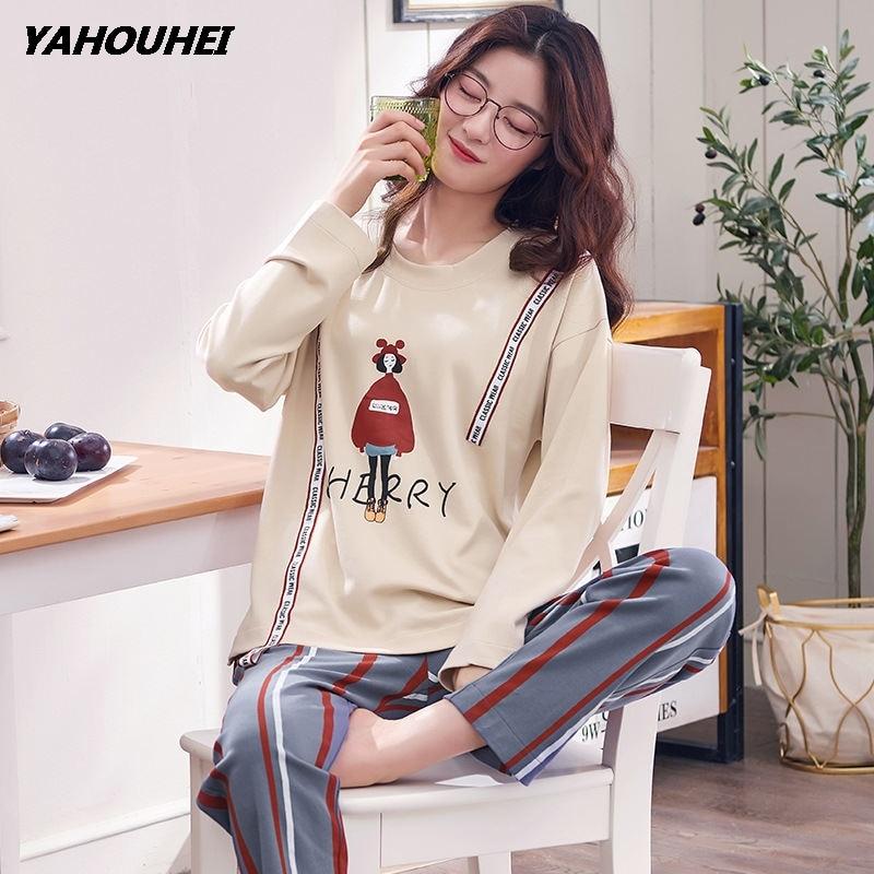 2019 New autumnBrand Women   Pajamas     Sets   Animal Cartoon Large Size Girls Sleepwear Women's Pijamas Suit Home Clothes Pyjama Femme