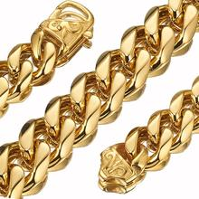 Granny Chic 12/15mm Customized Any Length Gold Tone Curb Cuban Stainless Steel Necklace Boys Mens Chain Fashion jewelry