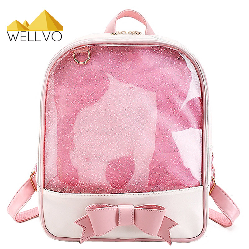 Wellvo Summer Transparent Bow Backpack Candy Color PVC Bags Flower Zipper Women Clear Daily Backpacks Girls School Bag XA1943C