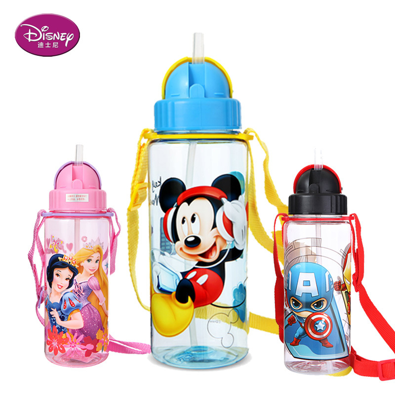 Disney 450-510ML Minnie Mickey Mouse Marvel Super Wings Cartoon Water Cup Bottle Non-spillableFeeding Cup Straw Sofia Snow White