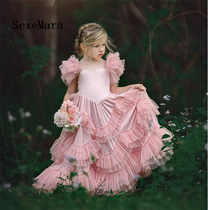 Lovely Blush Pink Flower Girl Dresses Tiered Ruffle Tulle Pageant Gowns First Communion Dress Floor Length Custom Made ruffle trim tiered cami blouse