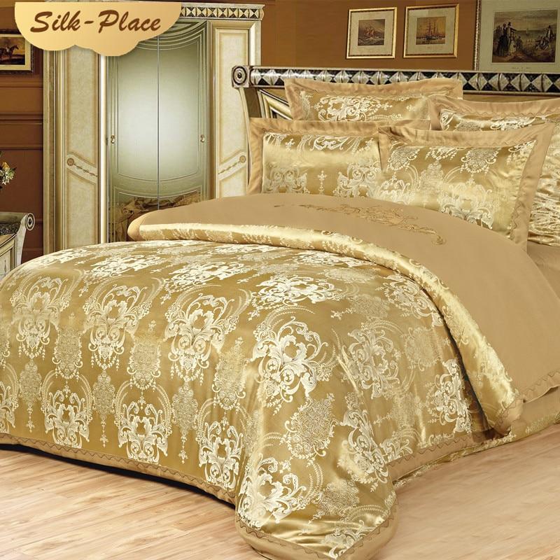 SILK PLACE Gultas veļas komplekts Luksusa žakarda satīna gultas - Mājas tekstils