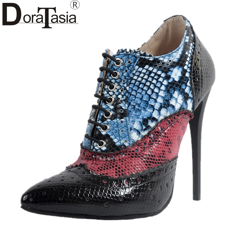 DoraTasia New Brand Large Size 34-47 Mixed Color Thin High Heels Women Shoes Pointed Toe Ankle Boots Woman Cool Party Leisure doratasia embroidery big size 33 43 pointed toe women shoes woman sexy thin high heels brand pumps party nightclub