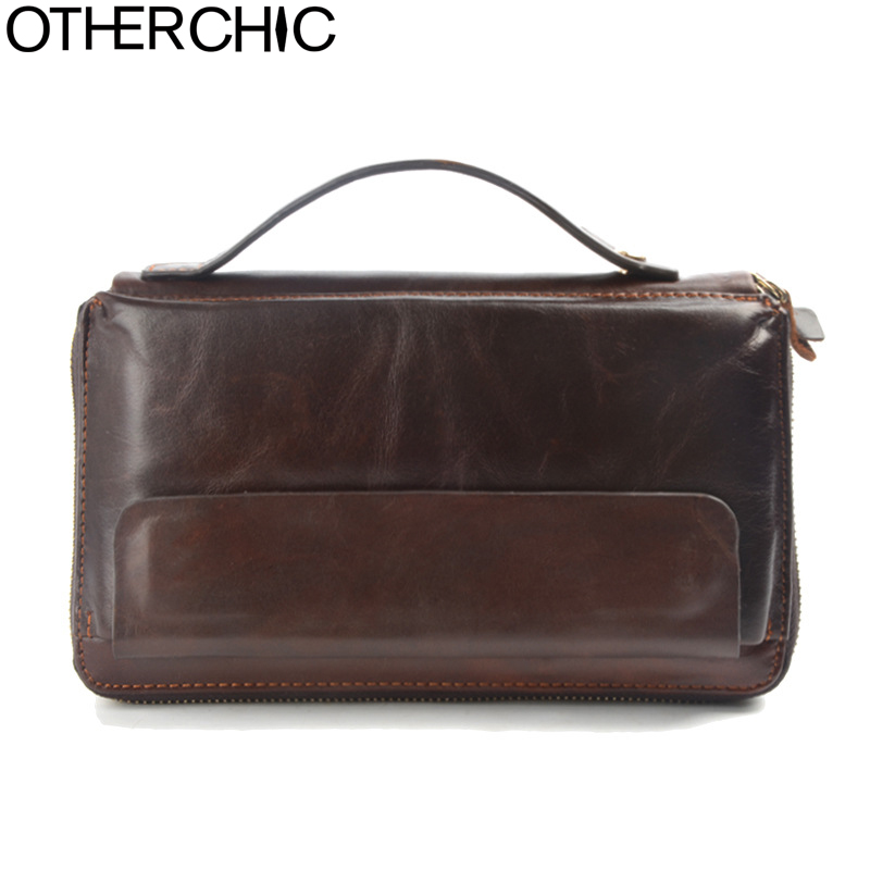 где купить OTHERCHIC Genuine Leather Men Roomy Clutch Wallet Long Male Purse Card Holders Vintage Clutch Wallets Men Phone Pouch 7N02-22 по лучшей цене