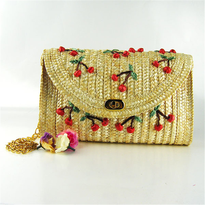 Adiyate Weave Embroidery Fruit Cherry Bananas Daisy Mini Chain Sling Bag For Women Straw Beach Sac De Plage 226 In Shoulder Bags From