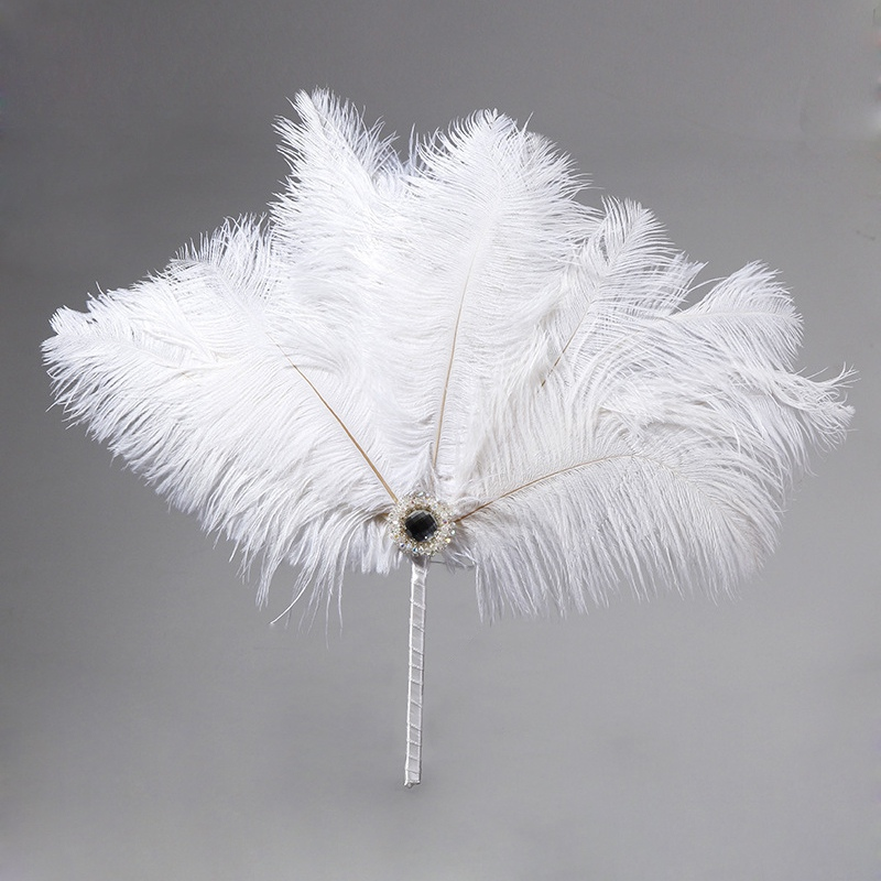 Vintage Bridal Feather Bouquet Decorative Fan Crystal Bridesmaid 20s Gatsby Wedding Bouquet Flapper Accessories