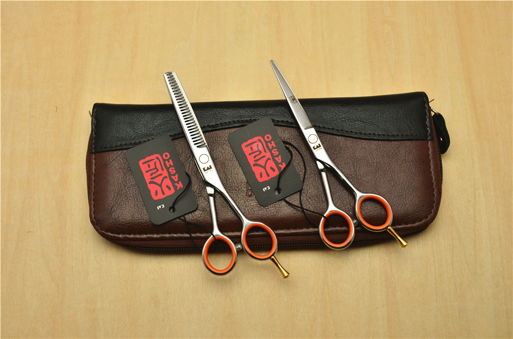 5 0 13 5cm Japan Kasho 440C Professional Human Hair Scissors Hairdressing Scissors Cutting Shears Thinning