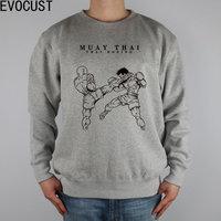 MUAY THAI KICK Protector Fighting MMA Artwork Men Sweatshirts Thick Combed Cotton