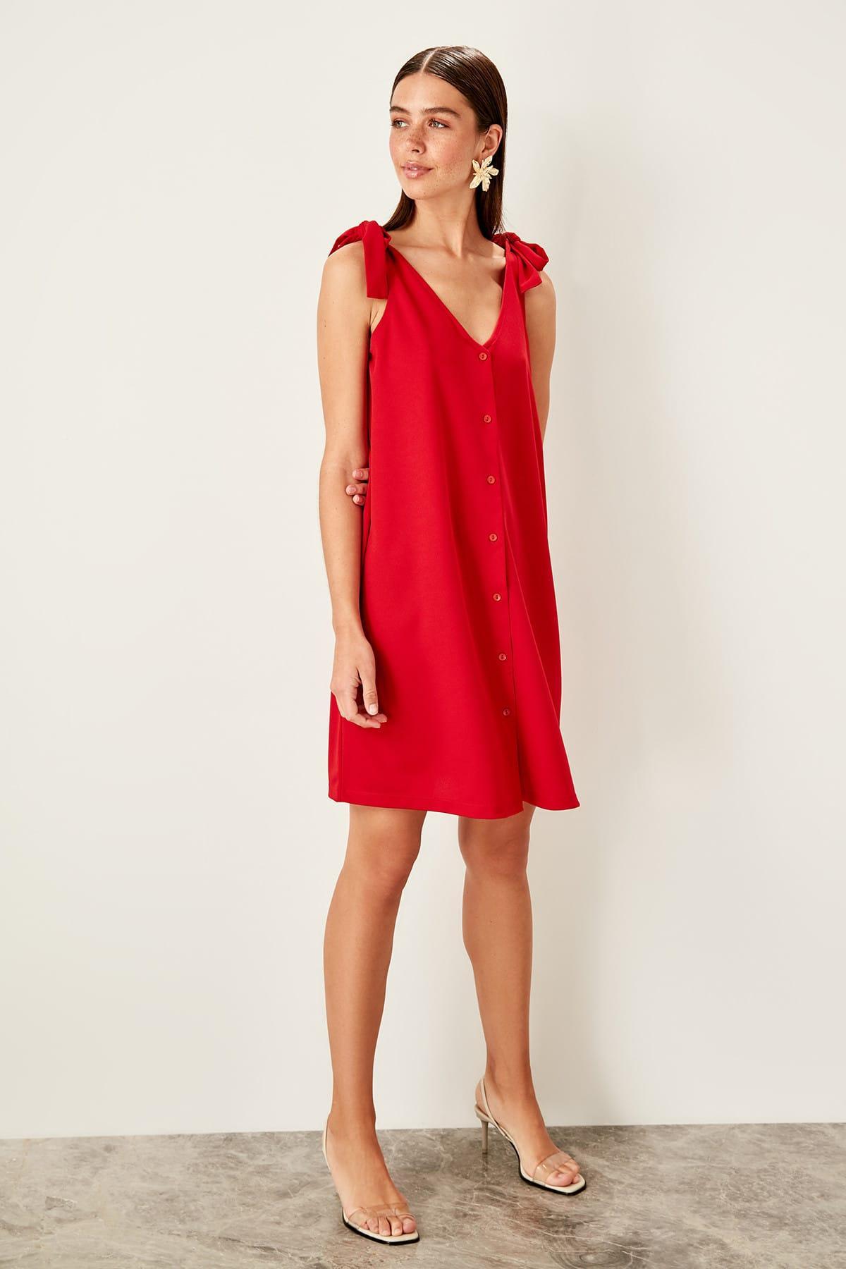 Trendyol Red Lacing Detaylı Knit Dress TWOSS19VG0255