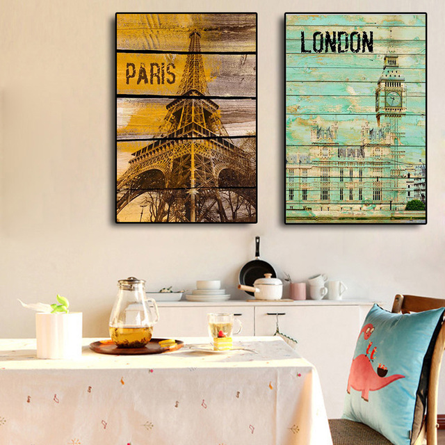Retro London and Paris Kids Room Canvas Painting