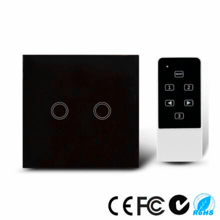 UK Standard Touch Remote control Light Switch, 2Gang1Way Black/White Pearl Crystal Glass Wall Switch, With LED Indicator white 1 gang 1 way led crystal glass panel light touch screen remote switch for light with wireless remote control 110v 220v