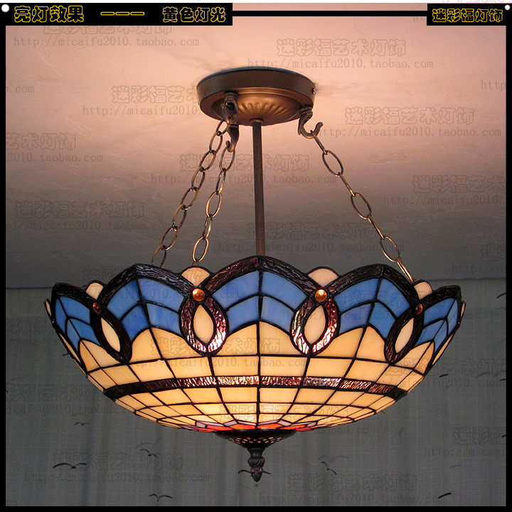 Tiffany Baroque Stained Glass Suspended Luminaire E27 110-240v Chain Pendant Lights For Home Parlor Dining Bed Room40cm